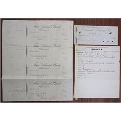 Donnell, Lawson & Co. Proof Draft, First National Bank Proof Quartet and National Bank Note Co. Orde