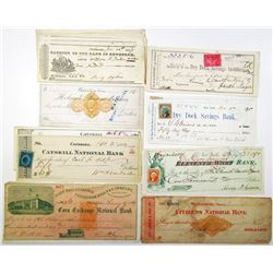New York, Connecticut, Pennsylvania Assortment of 20 Issued Checks, ca. 1830-1899