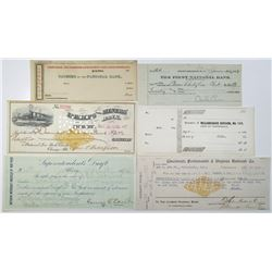 Midwest and Northeast Check Group of 6, ca. 1830-1917 including Charles Edison Signed Check