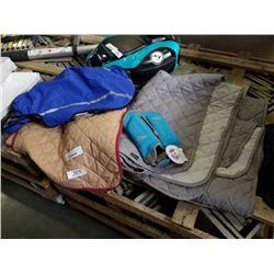 LOT OF NEW PET BLANKETS, CAR SEAT BLANKETS, PET JACKET AND MORE