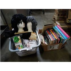 BOX AND BASKET OF AMAZON OVERSTOCK ITEMS, MANNEQUIN HEADS, PHOTO ALBUMS AND RECORD BOOKS