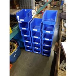 17 BLUE AKRO PARTS BINS 8 INCHES WIDE