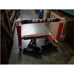 KIDS HOCKEY NET AND ROLLER BLADES