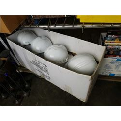 Large lot of white hard hats