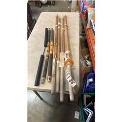 LOT OF WOOD KENDO SWORDS AND FIGHTING STICKS