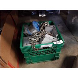 Crate of chain and brackets