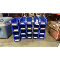 20 AKRO PARTS BINS 5 1/2 INCHES WIDE