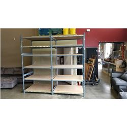DOUBLE BAY SECTION OF EZ-RECT SHELVING UNIT, W/ 6 SHELVES EACH (12 SHELVES TOTAL) - 96 INCH TALL, 8F