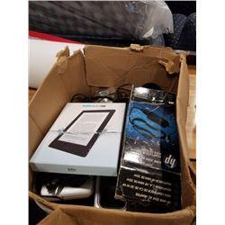 BOX OF ELECTRONICS - KOBO AURA H20, MAY BE DAMAGED