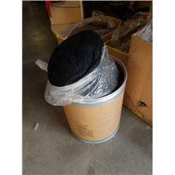 Barrel of black New Zealand wool yarn