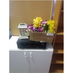 BOX OF NEW ARTIFICIAL ORCHIDS AND SOLAR CANDLE