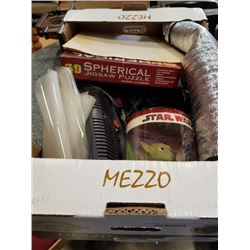 Box of star wars yoda, spherical puzzle and more