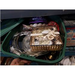 TOTE OF ESTATE GOODS, SERVING PIECES, BRASS DECOR