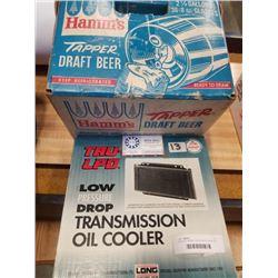 VINTAGE HAMMS TAPPER DRAFT BEER KEG AND LOW PRESSURE DROP TRANSMISSION COOLER
