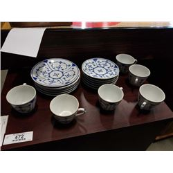 SET OF GDR GERMAN BLUE/WHITE DISHES 6 CUPS, SAUCER, B& B PLATES 18 PIECES