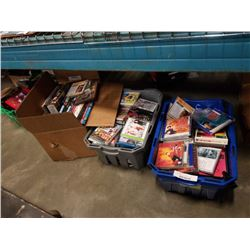 2 TOTES  AND BOX OF DVDS AND CDS