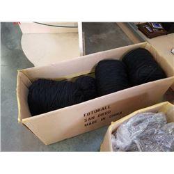 Box of black New Zealand wool yarn