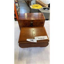 DOVETAILED CIGAR BOX AND BURLED BOX