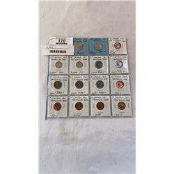 15 1967 CANADIAN CENTENNIAL COINS 25c, 10c, 5c, 1c, SILVER .800