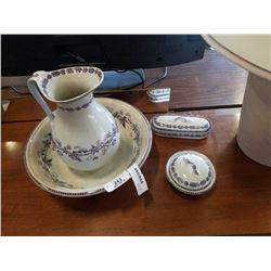 4 PIECE WASH SET - JUG AND BOWL AND 2 LIDDED DISHES