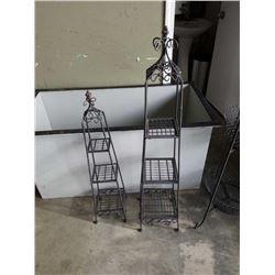 2 decorative metal 3 tier shelves.