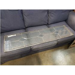 LEADED GLASS PANEL APPX 56 X 15 INCHES