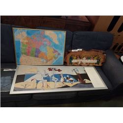"""""""LAST SUPPER"""" WALL HANGING, FRAMED MAP OF CANADA, AND PICASSO PRINT"""