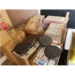 2 decorative metal Shelves and 4 small decorative metal tables