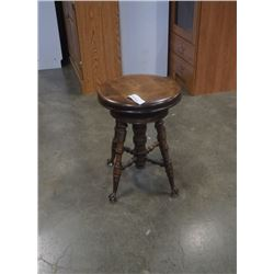 ANTIQUE STOOL WITH METAL AND GLASS CLAW AND BALL FEET