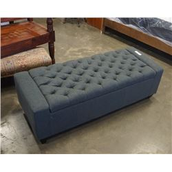 GREY TUFTED STORAGE BENCH OTTOMAN