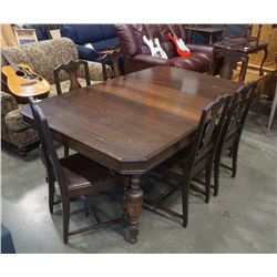 ANTIQUE DINING TABLE WITH 6 CHAIRS AND 2 LEAFS