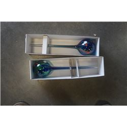 2 POLISH ART GLASS WATERING BULBS