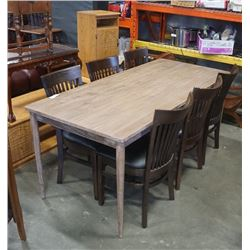 AS NEW DINING TABLE AND 6 CHAIRS - INDONESIAN LEGAL WOOD FROM RESPONSIBLE SOURCES