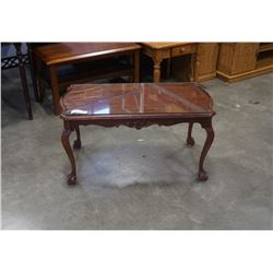 MAHOGANY COFFEE TABLE WITH CARVED CLAW AND BALL FOOT LEGS