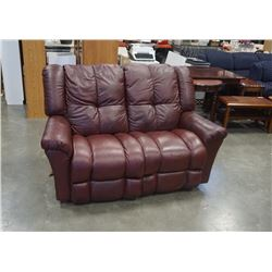 BURGUNDY LEATHER LAZBOY DOUBLE RECLINER LOVESEAT