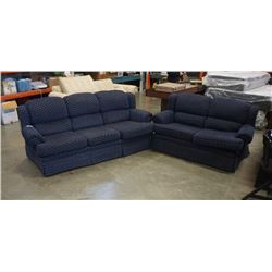 BLUE UPHOLSTERED SOFA AND LOVESEAT