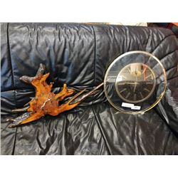 BURL CLOCK WITH METAL AND GLASS CLOCK