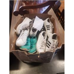 BOX OF ADIDAS, NIKE, CONVERSE AND OTHER SHOES SIZE SIZE 6-9 1/2