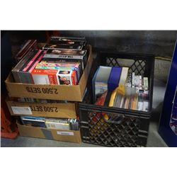 CRATE AND 3 BOXES OF DVDS AND CDS