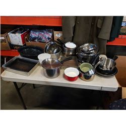 BOX OF KITCHEN ITEMS, POTS AND PANS