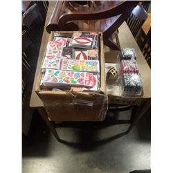 LARGE BOX OF TEMPORARY TATOOS AND TRAY OF NEW PENS