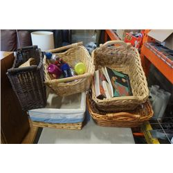 LOT OF WICKER BASKETS, WATER BOTTLES AND BOOKS