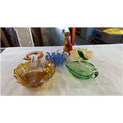 LOT OF ART GLASS DISHES AND ART GLASS DOG