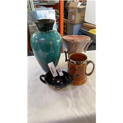 GONDER AND BLUE MOUNTAIN STYLE VASES, LARGE STEIN AND HARLEY DAVIDSON CREAMER