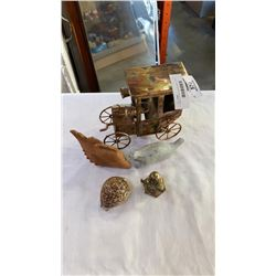 STONE CARVING, BRASS WINDMILL, SHELL AND WOOD FISH, BRASS MUSICAL CAR