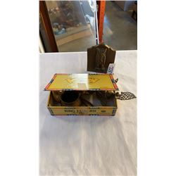 BRASS FIGURES AND VINTAGE CIGAR BOX