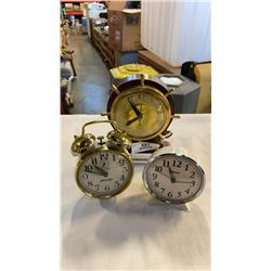 3 VINTAGE CLOCKS – UNITED, WESTCLOX, EQUITY