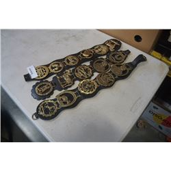3 SETS OF BRASS HORSE MEDALLIONS