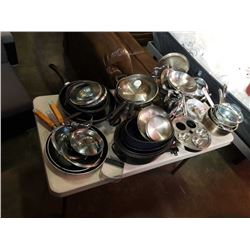 LOT OF STAINLESS POTS AND PANS