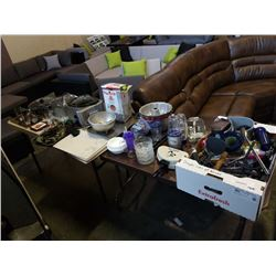 LOT OF MISC HOUSEHOLD BAKEWARE, POTS AND PANS, ETC